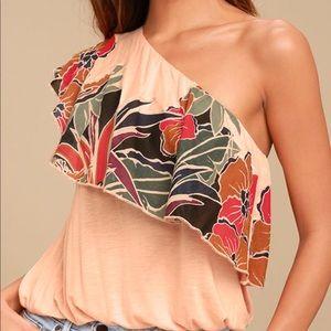 Free People // Annka Floral One Shoulder Top